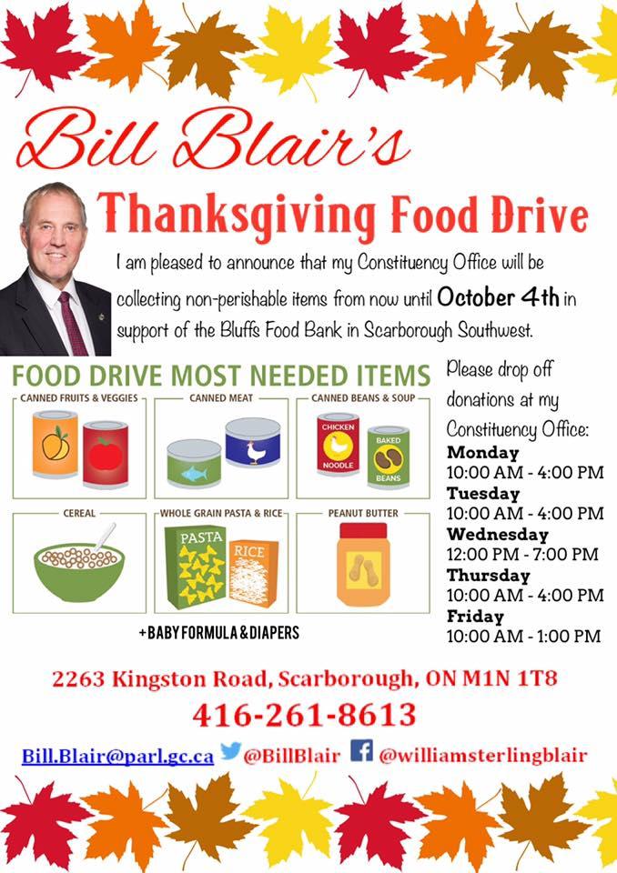 Bill Blair and The Bluffs Food Bank food drive