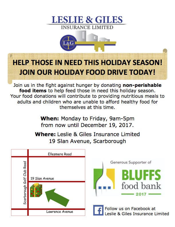 Leslie & Giles poster announcing their a food drive, what to bring and where to bring it in support of The Bluffs Food Bank